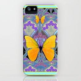 Pastel Lilac yellow butterflies Art Nouveau Design iPhone Case