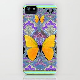 Pastel Lilac yellow butterflies Art Nouveau Design iPhone Case