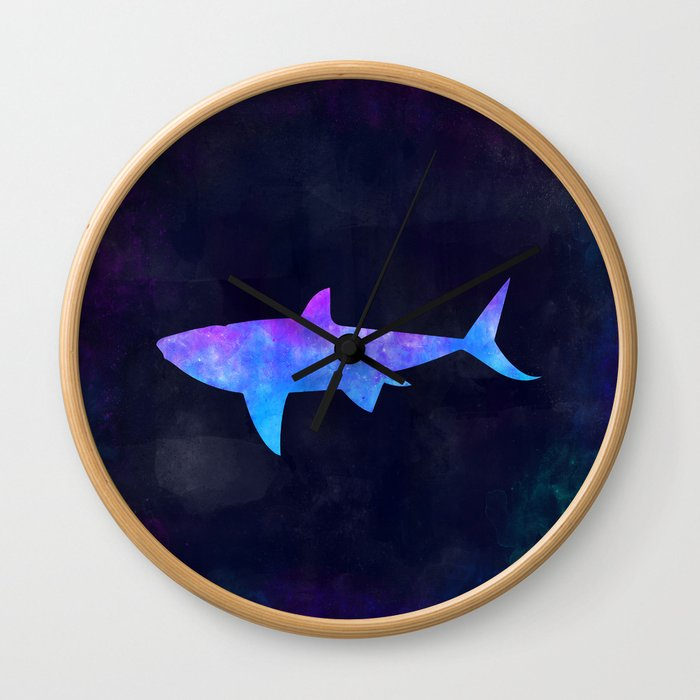 SHARK IN SPACE // Animal Graphic Art // Watercolor Canvas Painting // Modern Minimal Cute Wall Clock