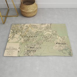 Vintage Winthrop, Chelsea, East Boston & Revere MA Map Rug