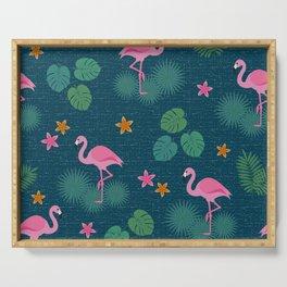 Bohemian nonchalance tropical flamingo pattern on dark background Serving Tray