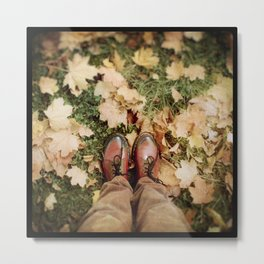 Shoes And Leaves Metal Print