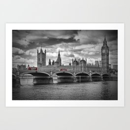 LONDON Houses of Parliament & Red Buses Art Print