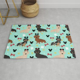 dachshund theme park vacation dogs Rug