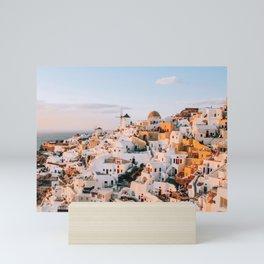 Dreaming at Dusk   Santorini, Greece Mini Art Print