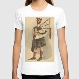 Vintage Illustration of a Scottish Bagpiper (1898) T-shirt