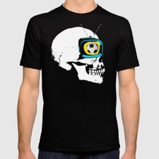 Football Mind - a round thing in the TV eye v4 Black SMALL Mens Fitted Tee