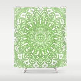 Light Lime Green Mandala Simple Minimal Minimalistic Shower Curtain