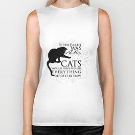 Cats on the Flat Earth Biker Tank