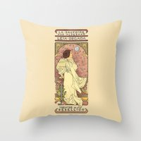 text Throw Pillows featuring La Dauphine Aux Alderaan by Karen Hallion Illustrations