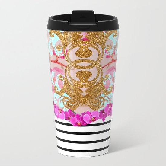 Fashion Girly Pink Vintage Floral Trendy Stripes Pattern Metal Travel Mug