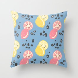 abstract modern pattern background with lemons and animal print with leopard dots Throw Pillow