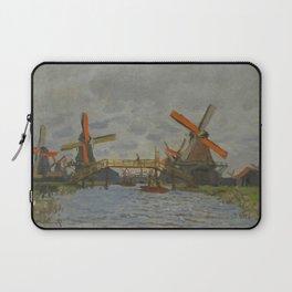 """Claude Monet """"Windmills near Zaandam"""" Laptop Sleeve"""