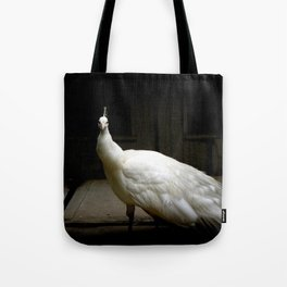 Elegant white peacock vintage shabby rustic chic french decor style woodland bird nature photograph Tote Bag