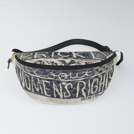 Prickly About Women's Rights, block print, cactus art, cacti Fanny Pack
