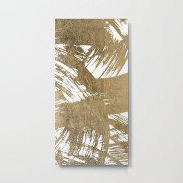 Elegant chic faux gold foil brushstrokes pattern Metal Print
