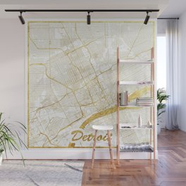Detroit Map Gold Wall Mural