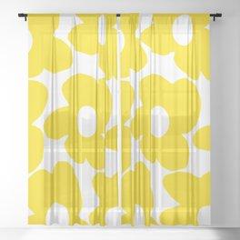 Large Yellow Retro Flowers on White Background #decor #society6 #buyart Sheer Curtain
