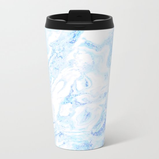 White Marble with Pastel Blue Purple Teal Glitter Metal Travel Mug