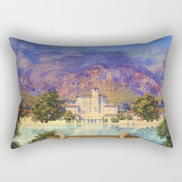 Broadmoor Hotel, Colorado Springs landscape by Maxfield Parrish Rectangular Pillow