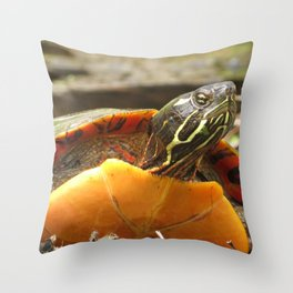 PAINTED TURTLE - WITH ATTITUDE Throw Pillow