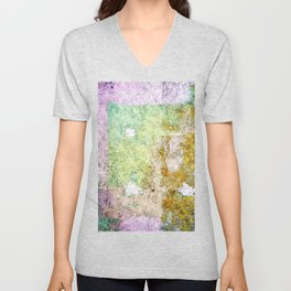 Purple street abstract painting Unisex V-Neck