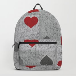 Red and Gray Graphite Hearts Backpack