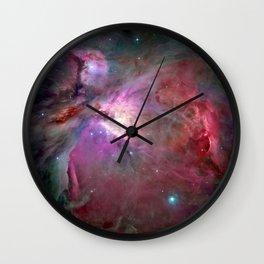 Galaxy, Nebula Mist, Crimson Red Wall Clock
