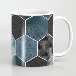 Midnight marble hexagons Coffee Mug