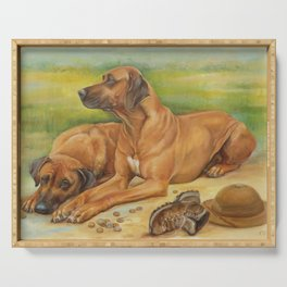 Rhodesian Ridgeback Dog portrait in scenic landscape Painting Serving Tray