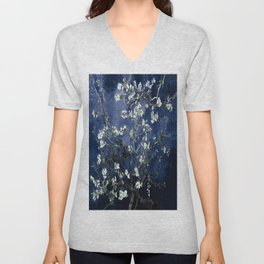 Vincent Van Gogh Almond Blossoms Dark Blue Unisex V-Neck