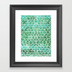 Watercolor Mermaid Emerald Framed Art Print