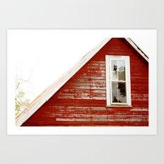 Red Barn Window Art Print