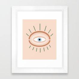 Retro evil eye - neutrals Framed Art Print