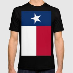 State flag of Texas, Vertical Banner Black Mens Fitted Tee MEDIUM