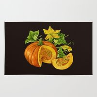 pumpkin Area & Throw Rugs featuring Pumpkin by ElenaTerrin