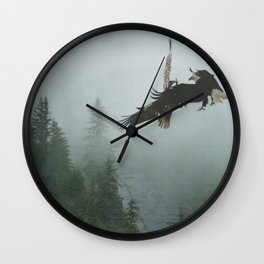 Battle for the Cedars - Bald Eagles Wildlife Scene Wall Clock