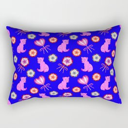 Funny happy little pink baby bear cubs, sweet vintage retro lollipops cute girly blue winter pattern Rectangular Pillow
