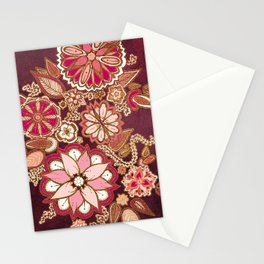 Golden Embroidery Flowers Stationery Cards