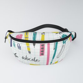 Yellow Pink and Blue School Teacher Print Fanny Pack