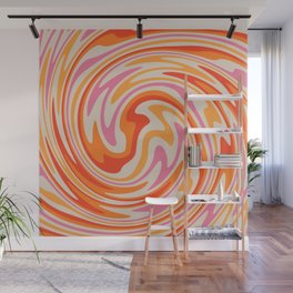 70s Retro Swirl Color Abstract Wall Mural