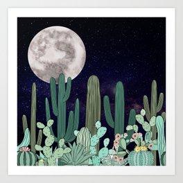 Desert Full Moon Night Cactus Garden Art Print