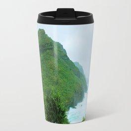green mountain with blue ocean view at Kauai, Hawaii, USA Travel Mug