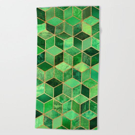 Green Cubes Beach Towel