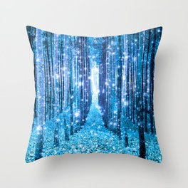 Magical Forest  Light Blue Turquoise Throw Pillow
