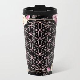 Flower of Life Rose Gold Garden on Black Metal Travel Mug