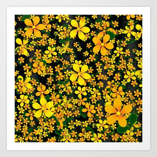 Orange & Yellow Flowers on Black Background Art Print