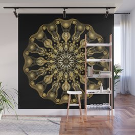Gold Mandala with black background I- Light Frequency Energy Art Wall Mural