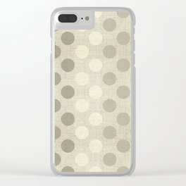"""Nude Burlap Texture & Polka Dots"" Clear iPhone Case"
