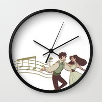 grantaire Wall Clocks featuring Dance With Me by invisibleinnocence